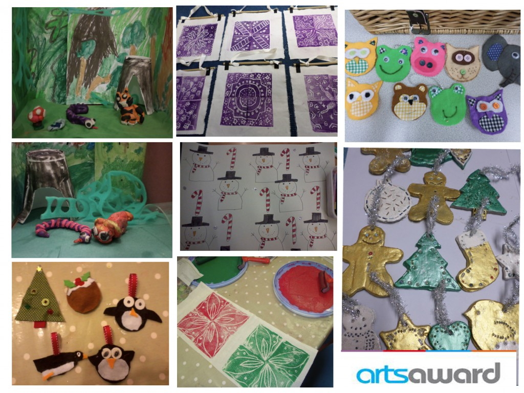 Kids animation, print, ceramics, christmas decorations, arts award